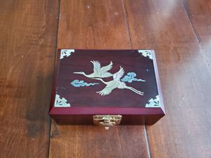 """vintage inlaid small jewelry box measures 3 3/4"""" x 3"""" x 2"""" high. Turtle snap closure works well. Clean red velvet interior with nice mirror. for Sale in Long Beach, CA"""