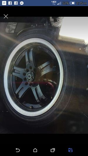 "17"" aftermarket dual pattern lug rims and tires for Sale in Presque Isle, ME"