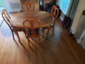 Real wood kitchen table and 5 chairs. In excellent condition. Table perfect size for apatment or home. Moving and must sell. for Sale in San Jose, CA