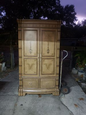 TV stand, solid wood, around 6 1/2 ft for Sale in Tampa, FL