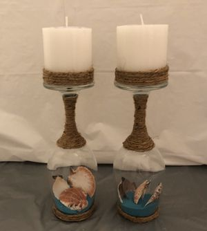 Seashell & Sand Wine Glass Candle Holders for Sale in Riverton, UT