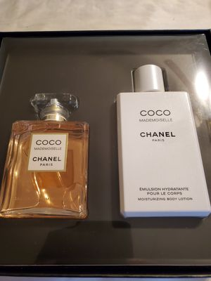 BRAND NEW AUTHENTIC COCO MADEMOISELLE CHANEL PERFUME 3.4 FL OZ N BODY LOTION 6.8 FL OZ AS SET OR BEST OFFER for Sale in Hesperia, CA