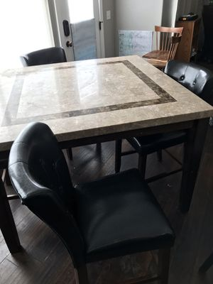 Marbled kitchen table and 4 Leather chairs. for Sale in Salt Lake City, UT