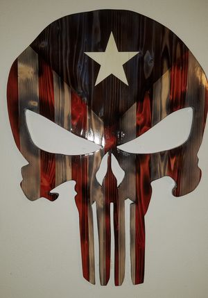 Handmade Punisher Skull American Flag Rustic wall art. Wood home decor for Sale in Longview, WA