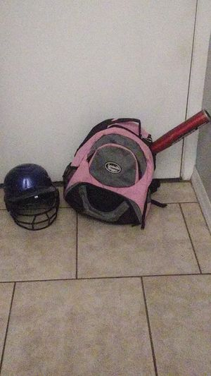 Backpack for baseball gear batting helmet and a bat the bat does havep a dent in it. The helmet is s one size fits all but tagged as a 6-1/2 -7-1/2 for Sale in Phoenix, AZ