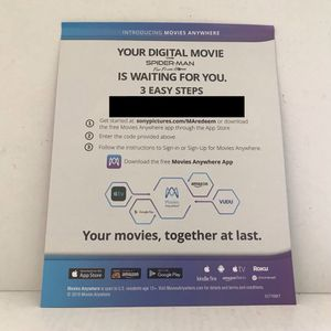 Spider-Man Far From Home Movie Digital Redemption Code for Sale in Los Angeles, CA