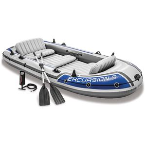 Intex Excursion 5, 5-Person Inflatable Boat Set with Aluminum Oars and air pump lake summer water sports for Sale in undefined