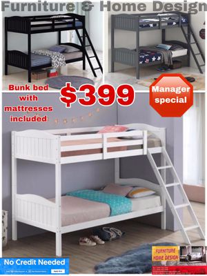 Bunk bed with mattresses included for Sale in Visalia, CA