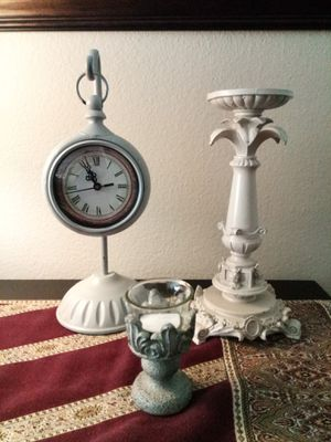 Home Decor Bundle: Clock & Candle Holders for Sale in Lake Forest, CA