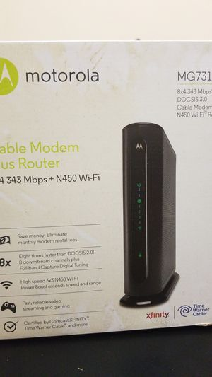 Motorola MG7315 cable modem + router 8x4 343 Mbps + N450 wifi docsis 3.0 for Sale in Jersey City, NJ