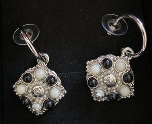 Black pearls and white pearls silver earrings studs for Sale in Fremont, CA