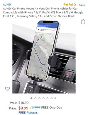AUKEY Car Phone Mount Air Vent Cell Phone Holder for Car Compatible with iPhone 11/11 Pro/Xs/XS Max / 8/7 / 6, Google Pixel 3 XL, Samsung Galaxy S9+, for Sale in Hacienda Heights, CA
