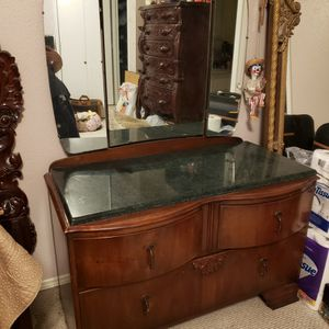 Antique LAWRENCIA RELIABLE FURNITURE ART DECO 1920S-1930S Wooden Vanity Dresser Mirror With MARBLE Top for Sale in Houston, TX