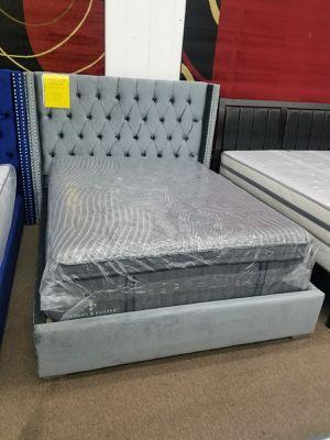 No credit needed silver velvet queen size platform bed frame only for Sale in Beltsville, MD
