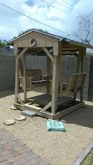 Backyard glider style swing porch swing set yard art decorative lawn for the july for Sale in Phoenix, AZ