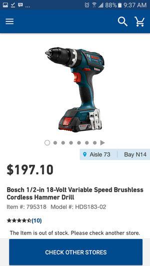 Bosh Brushless Hammer Drill for Sale in Scott Depot, WV