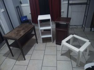 3 side or end tables, 1 coffee table, shelf, cabinet, bench, ottoman for Sale in Louisville, KY