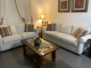 Cindy Crawford Home Bellingham Sand Textured Sofa & Loveseat w/ pillows for Sale in Cutler Bay, FL