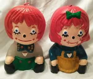 Collectible Raggedy Ann & Andy painted candles for Sale in Ravenna, OH