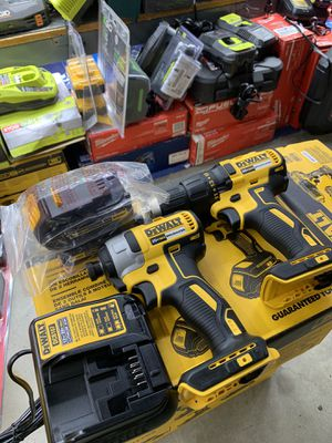 DEWALT 20V BRUSHLESS IMPACT AND DRILL COMBO WITH 2 BATTERIES AND CHARGER COMBO for Sale in San Bernardino, CA