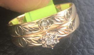 Size 8 Yellow Gold 10k Wedding & Engagement Ring with Diamonds for Sale in Raleigh, NC