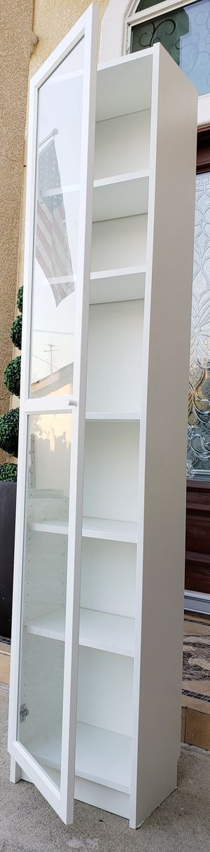 EXCELLENT CONDITION 1 Glass Door 6 Tiered Tier Display Bookshelves Bookcases Curio Cubby Cubbies Pantry Kitchen Bath Cabinet + Adj. Shelves INCLUDED for Sale in Monterey Park, CA
