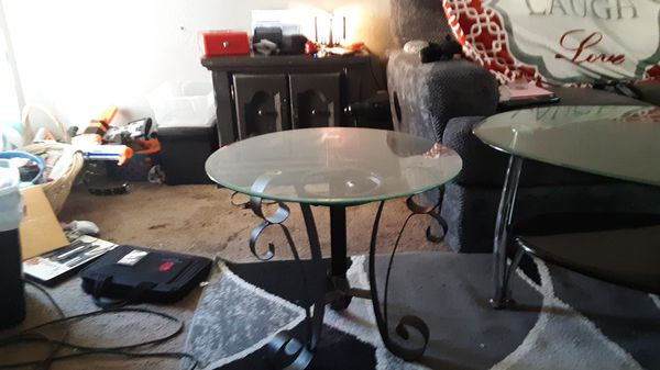 Glass Top End Table and Coffee Table
