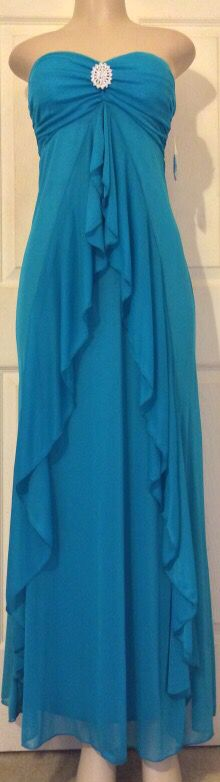 *NEW Teal Rhinestone Strapless Dress •M for Sale in Houston, TX