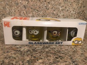 Despicable me 4 piece clear shot glass set for Sale in Ontario, CA