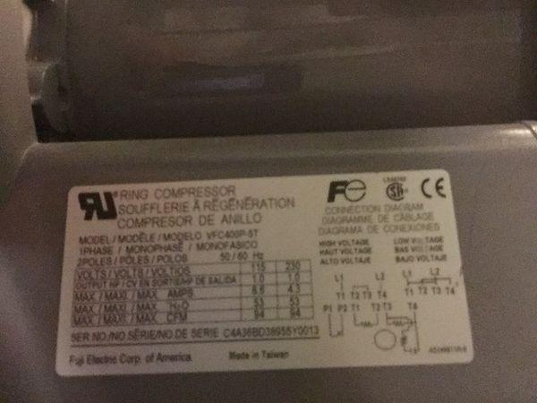 Hot tub/ sauna ring compressor pump