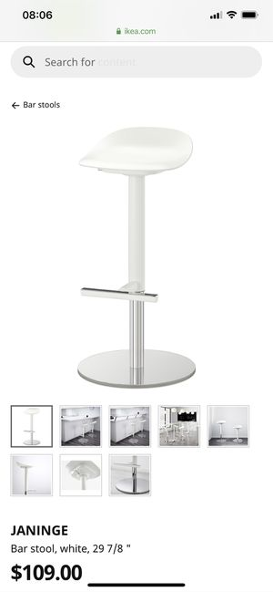 Ikea Janinge Bar Stool, White 2 available for Sale in Sunnyvale, CA