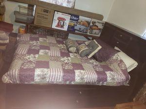 Queen drawer bed dark cherrie for Sale in St. Petersburg, FL
