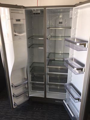 Kichenaid Stainless Steel Side by Side Refrigerador Scraches Dent With Warranty No Credit Needed Just $39 De Enganche You Take Home Today for Sale in Garland, TX