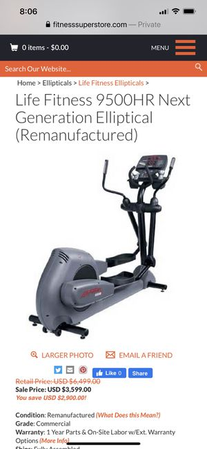 Life Fitness 9500 HR Elliptical for Sale in North Reading, MA
