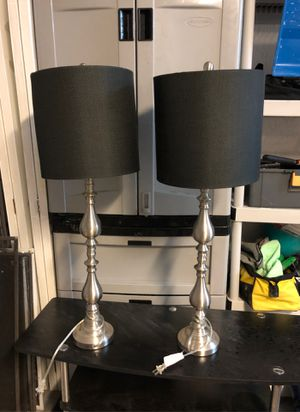 2 brushed aluminum table lamps with black shades for Sale in Pompano Beach, FL