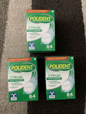 Polident 3 Minute Daily Antibacterial Denture Cleanser Tablets for Sale in Modesto, CA