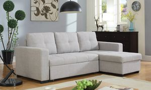FREE DELIVERY $50 DOWN Grey sleeper sectional sofa storage chaise for Sale in Miami, FL