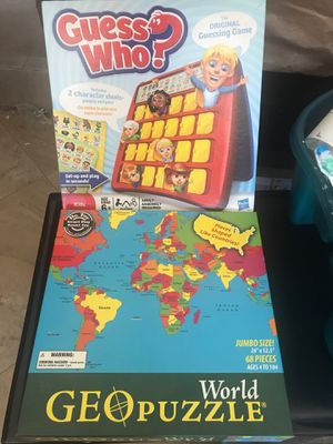 Guess Who Board Game & World Puzzle for Sale in Glendale, CA