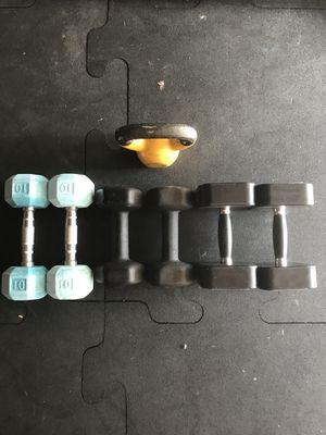 Dumbbells (2x5s 2x10s 2x12s 2x15s) & Kettlebell (1x10Lb) for $40 Firm!!! for Sale in Burbank, CA