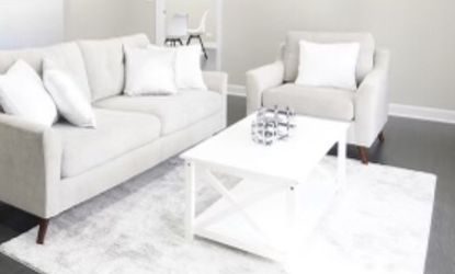 New Living room Grey Fabric On Sofa And Side Chair Wood Coffee Table for Sale in Addison,  IL