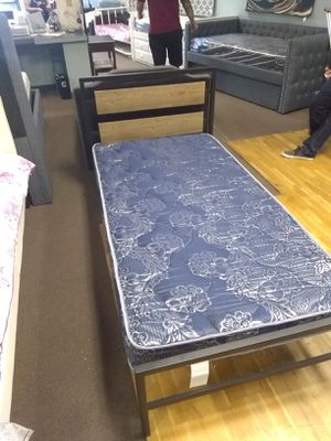 Twin size platform bed frame with Blue Foam Mattress included for Sale in Peoria, AZ