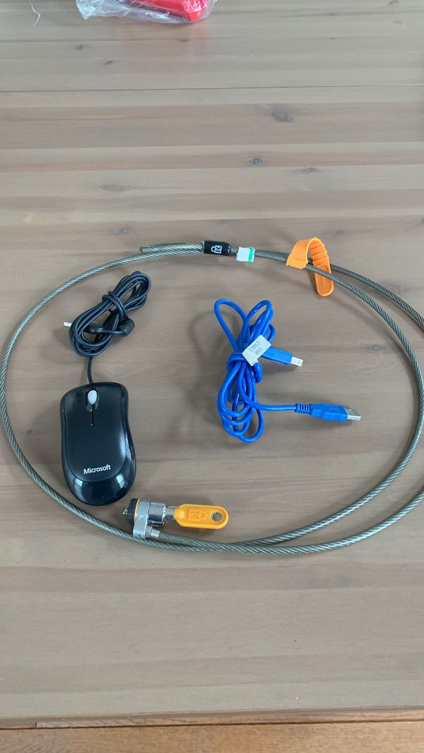 Free computer lock, optical mouse and usb cord