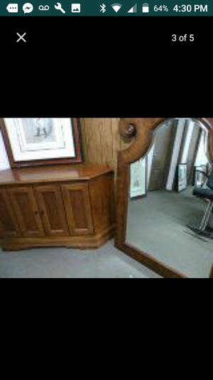 Antique beveled carved mirror and unique corner piece chest for Sale in US