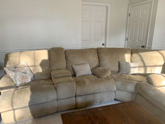 Sectional with Queen Pull Out Sleeper and Double Recliner for Sale in Roswell,  GA