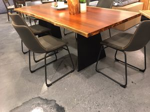 New showroom floor model , live edge rustic black wood dining table 6 chairs & Server/Sideboard for Sale in Durham, NC
