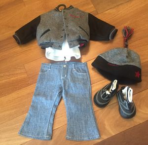 American Girl Doll Varsity jacket, Hat, & Blue Jean Basics for Sale in Chicago, IL