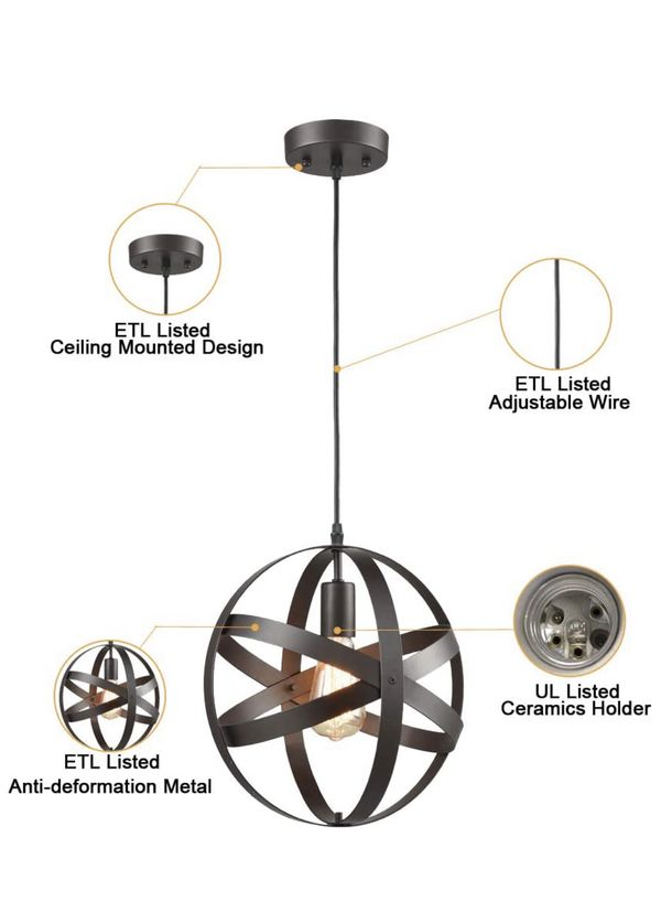 Truelite Industrial Metal Spherical Pendant Displays Changeable Hanging Lighting Fixture