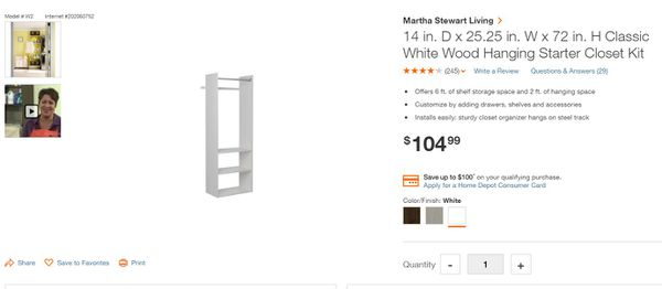 Classic White Wood Closet Organizer New in the boX!