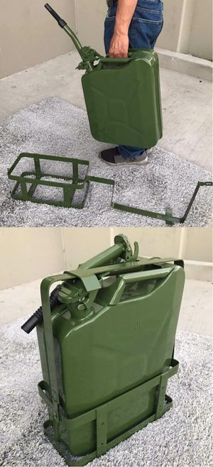 New 5 Gallon 20 Liter Fuel Steel Tank Jerry Gas Can Container Military Green with Holder Brackets for Sale in Whittier, CA