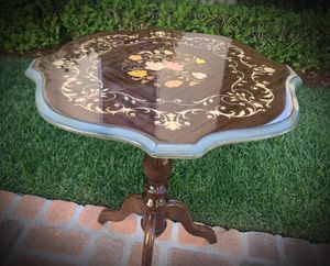 Made in Italy/Italian Original Vintage Antique Solid Exotic Wood Artisan Inlaid Center/End\Side Table Flowers/Floral for Sale in San Diego, CA